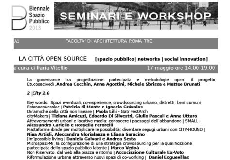 Biennale Spazio Pubblico Cittá Open Source Patrizia Di Monte - Ignacio Grávalos