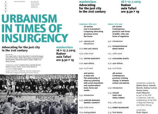 estonoesunsolar masterclass IUAV Urbanism in time of insurgency